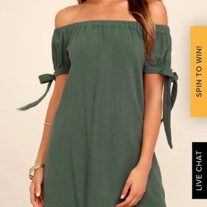 Lulu's Olive Green Off The Shoulder Dress XS